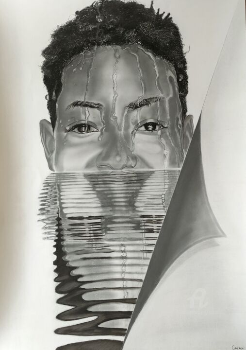 """Drawing titled """"Immersion"""" by Oncekeni, Original Art, Charcoal"""