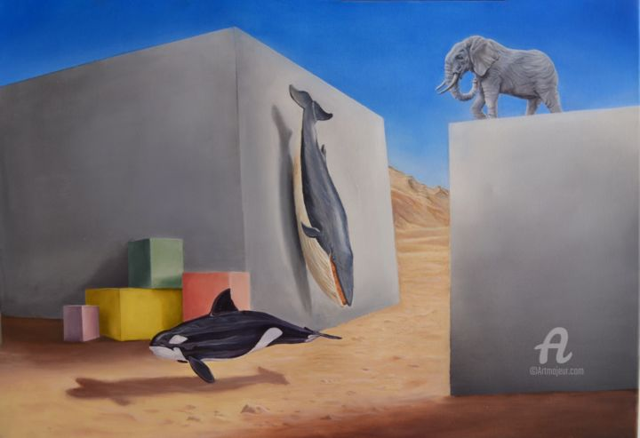 Two Continents - Painting,  19.7x27.6 in, ©2018 by Onder Caymaz -                                                                                                                                                                                                                                                                                                                                                          Surrealism, surrealism-627, Language, Religion, Nature, Wall, Home
