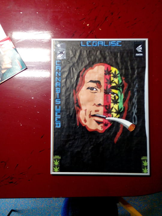 """Painting titled """"Tekening Bob Marley"""" by Orca : Organization For Creation And Art, Original Art,"""