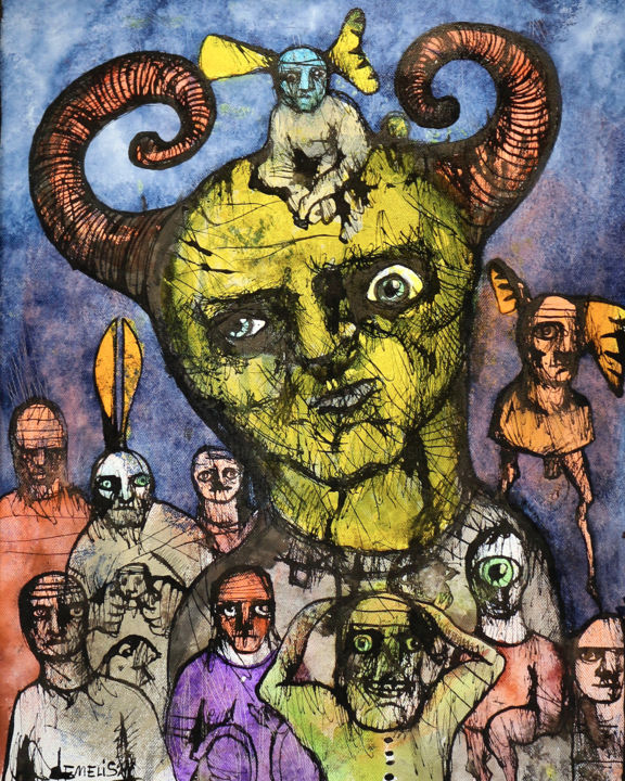 Diable & ses congénères - Painting,  19.7x15.8x2 in, ©2000 by Cabinet De Curiosités Artistiques -                                                                                                                                                                                                                                                                                                                                                                                                          Outsider Art, outsider-art-1044, Portraits, Comics, Pop Culture / celebrity, People, diable, gothique