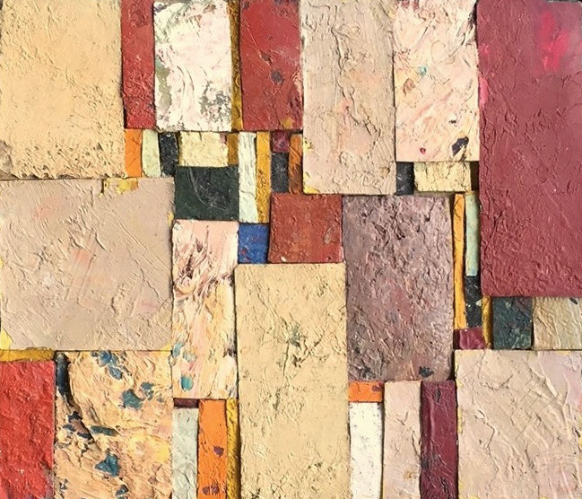 Composition abstraite - Painting,  7.7x8.9x1.2 in, ©1960 by Cabinet De Curiosités Artistiques -                                                                                                                                                                                                                                                                                                                                                              Abstract, abstract-570, Pulpboard, vardanian, collage, assemblage, mosaique