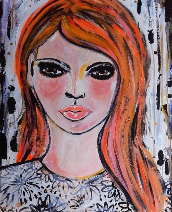 Fille Portrait Girl - © 2018 fille portrait, fille visage, femme portrait, portrait peinture, portrait art contemporain, portrait, portrait painting, céline marcoz, portrait art, pop art portrait Online Artworks