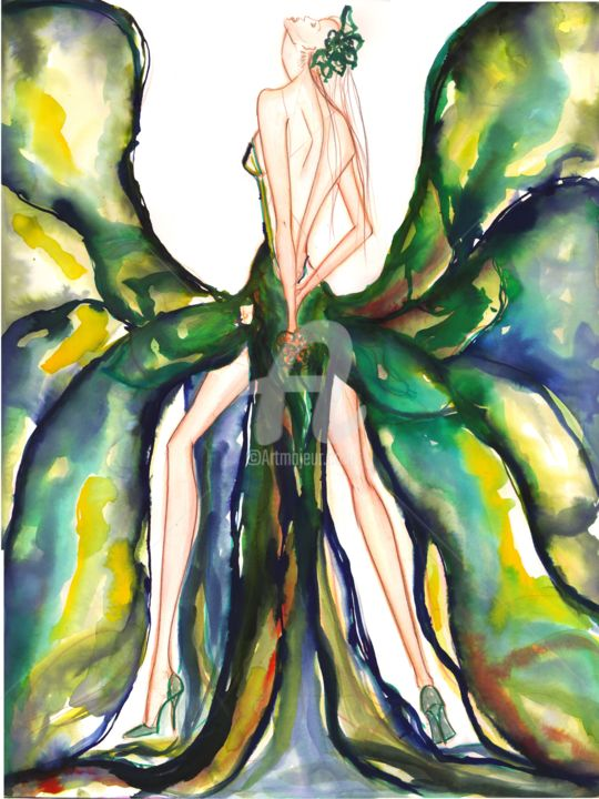 """Painting titled """"Figure Glamour Wate…"""" by Soniastella, Original Art, Watercolor"""