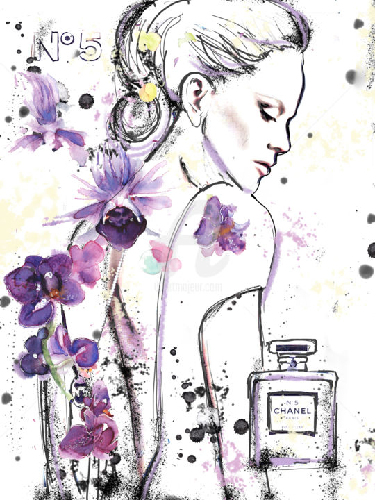 """Painting titled """"Chanel No 5 Nicole"""" by Soniastella, Original Art, Watercolor"""
