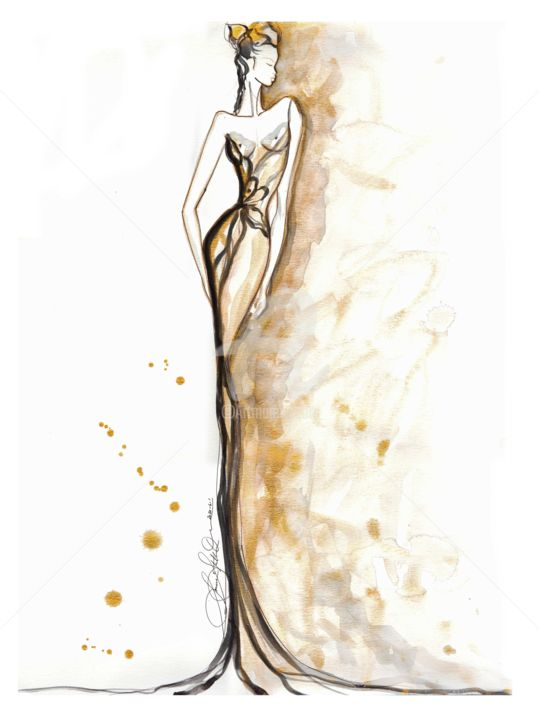 """Painting titled """"Art Deco Golden Girl"""" by Soniastella, Original Art, Watercolor"""