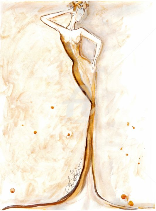 """Painting titled """"Golden Muse"""" by Soniastella, Original Art, Watercolor"""