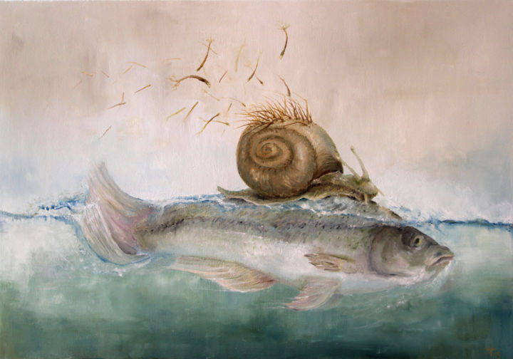 BaumSchneckenFisch - Painting,  48x68 cm ©2015 by Ralf Czekalla -                                                                                                            Surrealism, Canvas, Fantasy, Fish, Nature, Animals, Water, Fisch, schnecke, baumschnecke, surreal, art, painting, czekalla, kunstverkauf, kunst, wasser, blau, glashütte, sachsen, artist, galerie, fantasie, meer, see, künstler, traum