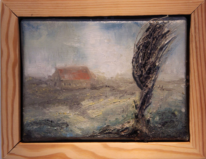 LandAnsicht - Painting,  17x22x2 cm ©2015 by Ralf Czekalla -                                                                                                                                                Illustration, Land Art, Contemporary painting, Wood, Canvas, Tree, Seasons, Rural life, Landscape, Places, czekalla, bild, wandbild, natur, baum, landschaft, art, painting, kunst, malerei, ölmalerei, kunstverkauf, landleben, dorf, haus, öl, fantasie, fernsicht, ansicht, gemälde