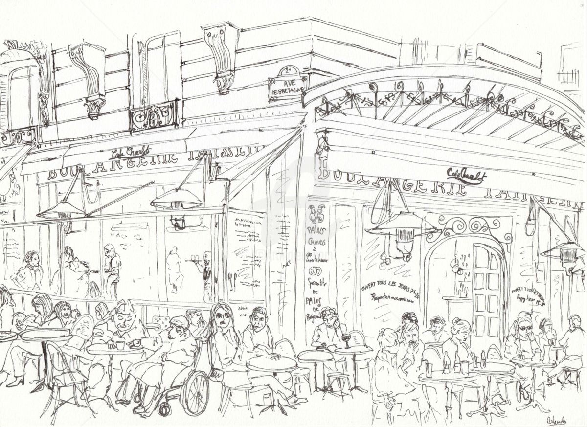 Cafe Parisien Drawing By Orlando Marin Lopez Artmajeur