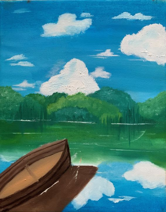 """Painting titled """"Pequeño bote"""" by Cerezo, Original Art, Oil"""