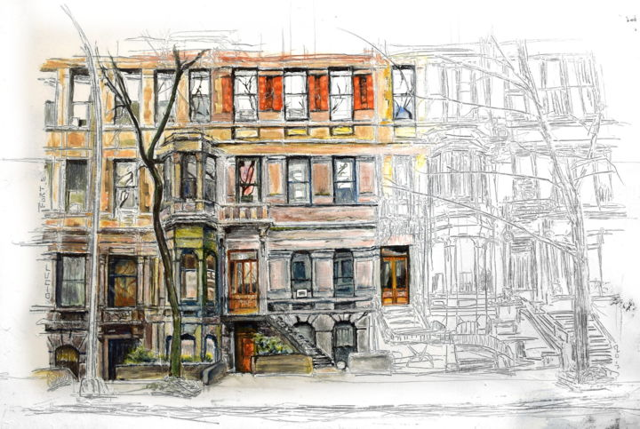 West 89th Street, NY - Painting,  19.7x27.6x0.8 in, ©2017 by Lucio Forte -                                                                                                                                                                                                                                                                                                                                                          Surrealism, surrealism-627, Architecture, Home, Cinema, artwork_cat.Cities, artwork_cat.Cityscape