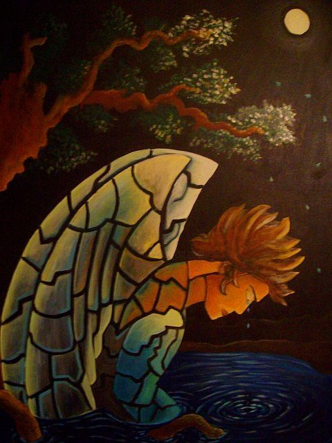 alone_in_thought.jpg - Painting,  48x36 in ©2009 by Oscar Galvan -                            Surrealism, The angel is alone in thought, feelings of remorse and lonliness, everyone can relate to that.