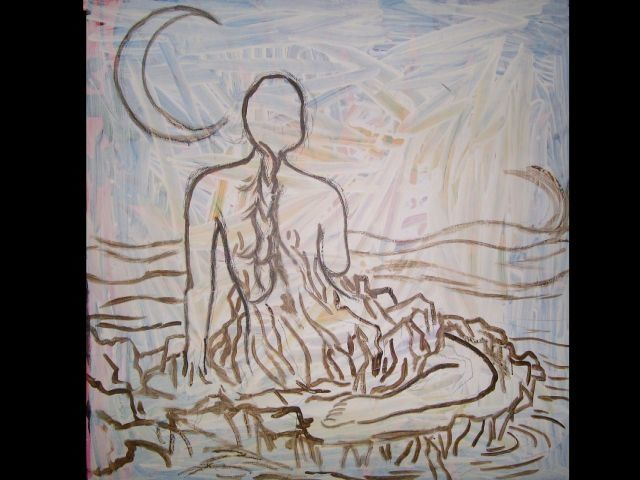 """"""" Siren by the sea """" - Painting,  48x48 in ©2009 by Oscar Galvan -            beginning sketch/ preliminary"""