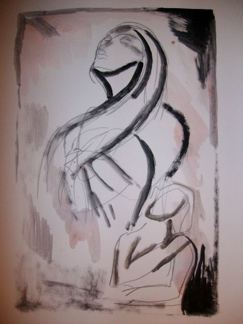 """"""" Twins """" - Painting,  14x10 in ©2009 by Oscar Galvan -                            Expressionism, Abstract/ Sketch/ Sisters/ Twins/ Joined"""