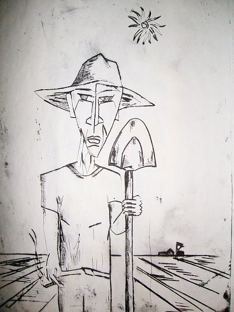 Lalo.jpg - Painting,  12x8 in ©2009 by Oscar Galvan -                            Contemporary painting, Working in the fields/ farmer/
