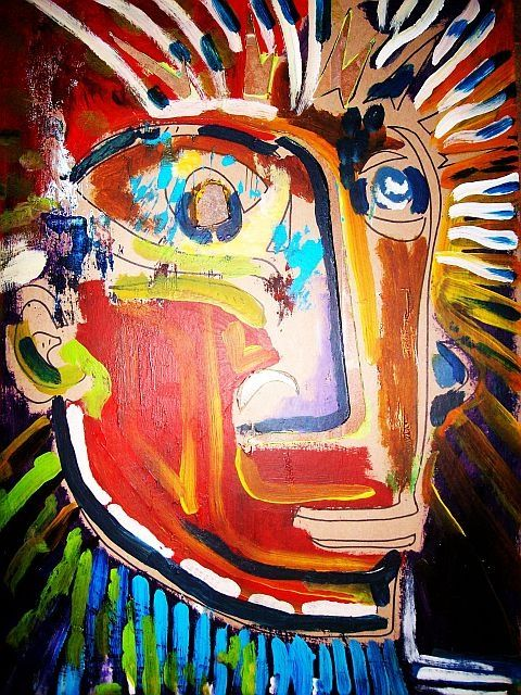 """"""" Primal Itch """" - Painting,  30x24 in ©2009 by Oscar Galvan -                            Expressionism, primitive/ rawness/ rough/"""