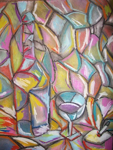 """ Incandescence "" - Painting,  17x14 in ©2009 by Oscar Galvan -                            Expressionism, Abstract Expressionism/ Cubism/ Glass of wine/ nightcap/"