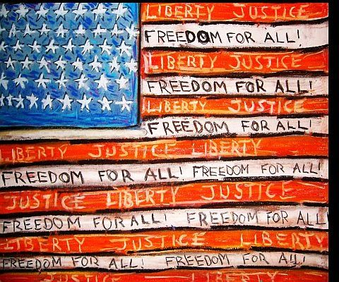 """ Freedom for All "" - Painting,  24x18 in ©2009 by Oscar Galvan -            The United States of America/ Independence Day/ July fourth"