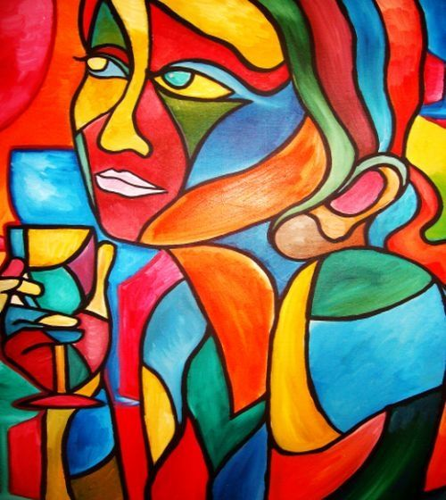 The art of Gazing - Painting,  48x48 in ©2010 by Oscar Galvan -                            Contemporary painting, Gazing, Wine, Wineglass, Cubist/ Woman drinking/ Collage/ watercolor/ acrylic/ eyes/