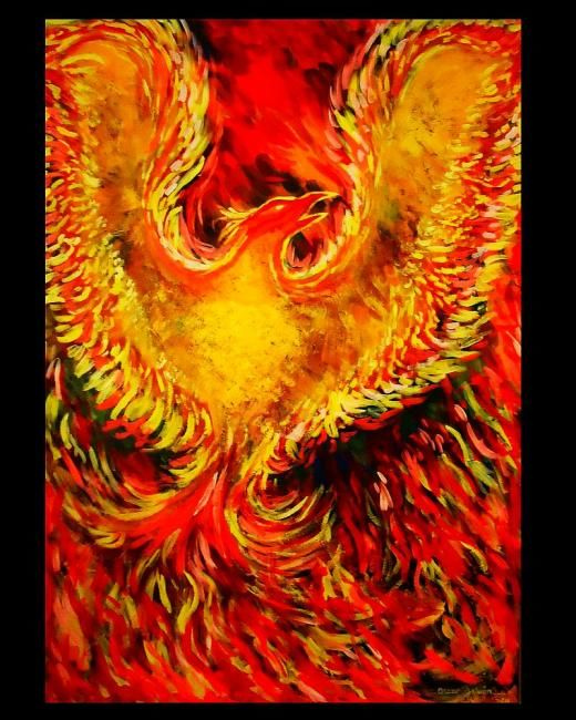 """ Renacimiento "" - Painting,  36x24 in ©2011 by Oscar Galvan -                            Abstract Expressionism, Renacimiento/ Rebirth/ Phoenix/ Fire/ Legend/ Folkore"