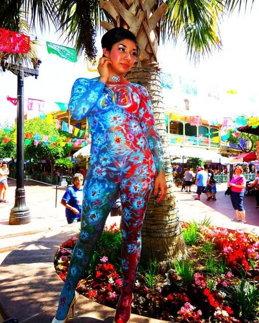 """ Floral Expression"" - Mixed Media ©2012 by Oscar Galvan -            Floral Expression Bodyart"