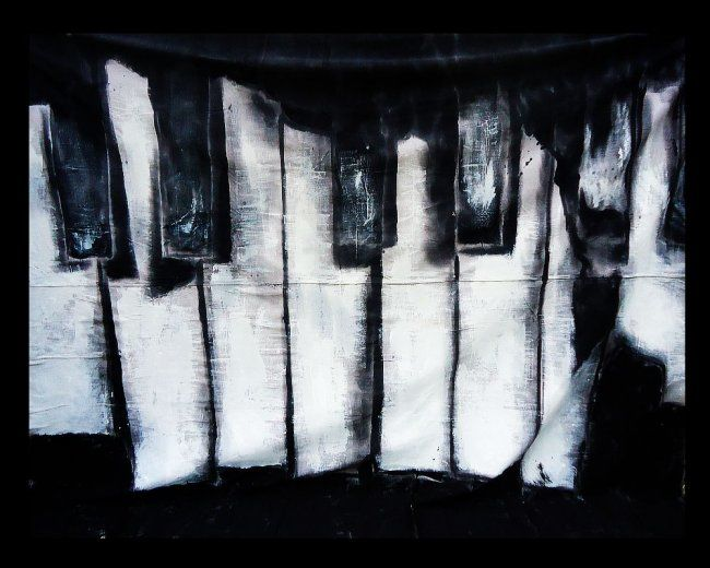 """ Broken Piano Keys "" - Painting,  12x9 ft ©2012 by Oscar Galvan -            Broken Piano Keys/ Bodyart Exhibition"