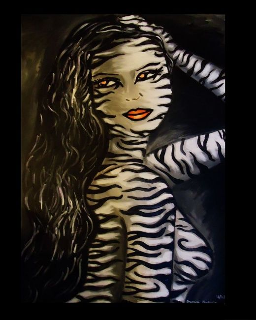 """Animal Instinct"" - Painting,  24x36 in ©2012 by Oscar Galvan -            Animal Instinct/ Animal Print/ Bodypainting/ Expressionism/ Contemporary"