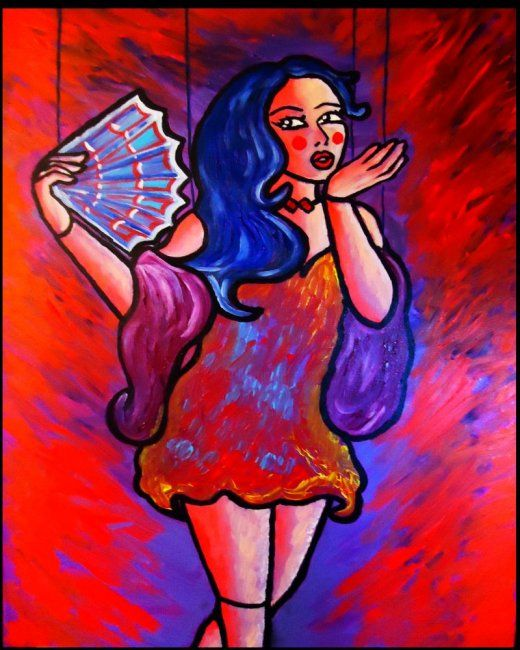 """ Muneca Espaniola "" - Painting,  30x40 in ©2012 by Oscar Galvan -                            Contemporary painting, muneca espaniola/ spanish doll/ expressionism/ contemporary/ marionette doll"