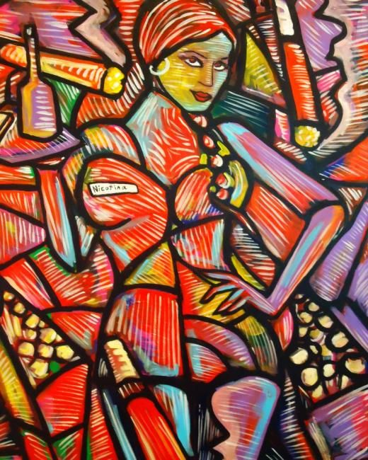 """"""" Nicotina """" - Painting,  40x30 in ©2012 by Oscar Galvan -                            Expressionism, Expressionism/ Contemporary/ Cubism/ Impressionism"""