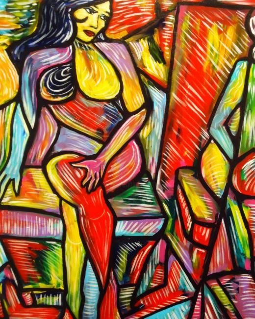 """"""" Ojos extranos """" - Painting,  40x30 in ©2012 by Oscar Galvan -                            Expressionism, Expressionism/ Contemporary/ Cubism/ Impressionism"""