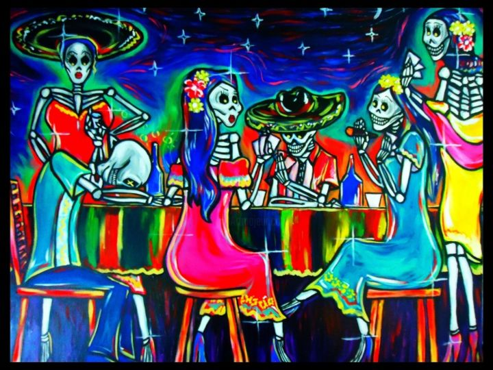jugando-en-mis-suenos.jpg - Painting ©2013 by Oscar Galvan -            Dia de los muertos/ day of the dead/ dreams/ sleep/ night/ folkart