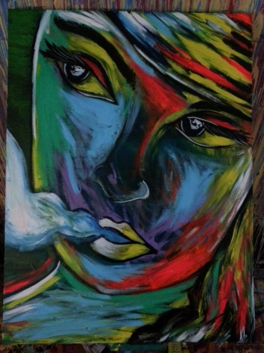 Figmentations - Painting,  30x40 in ©2013 by Oscar Galvan -            Expressionism impressionism portrait woman beauty popart face