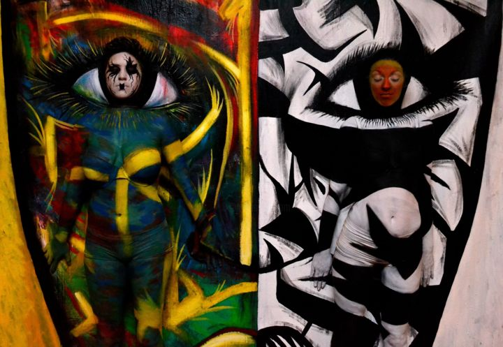Polarized - Painting, ©2013 by Oscar Galvan -                                                                                                                                                                                                  Popart, contemporary, camoflaged, bodypainting