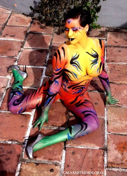 Sunbathing - Mixed Media ©2014 by Oscar Galvan -            Deco pizzeria, bodypainting, popart, contemporary, tribal, san antonio