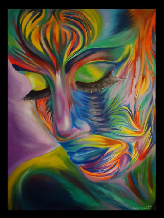 Surreal Silence - Painting,  48x36 in, ©2014 by Oscar Galvan -                                                                                                                                                                                                                                                                                                              Abstract, abstract-570, Contemporary, surrealiam, portrait, bodypainting