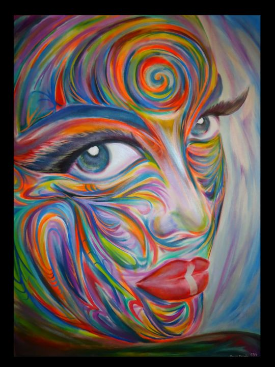 Hypnotizing Innocence - Painting,  48x36 in ©2014 by Oscar Galvan -                            Abstract Expressionism, Contemporary, expressionism, bodypainting, beauty