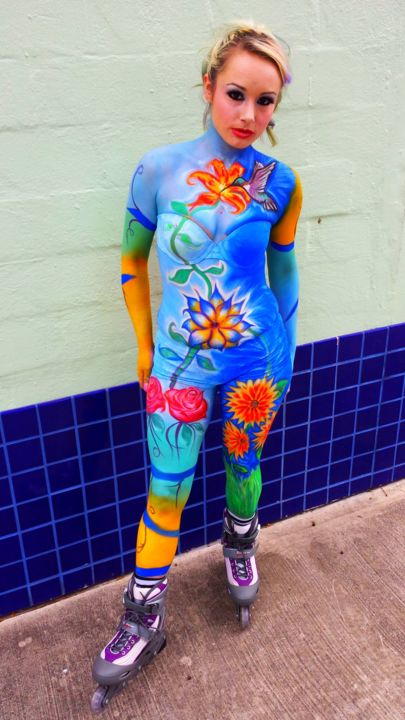 In the midst with Nature - Mixed Media ©2014 by Oscar Galvan -                            Expressionism, Bodypainting, Deco District, Nature, Flowers