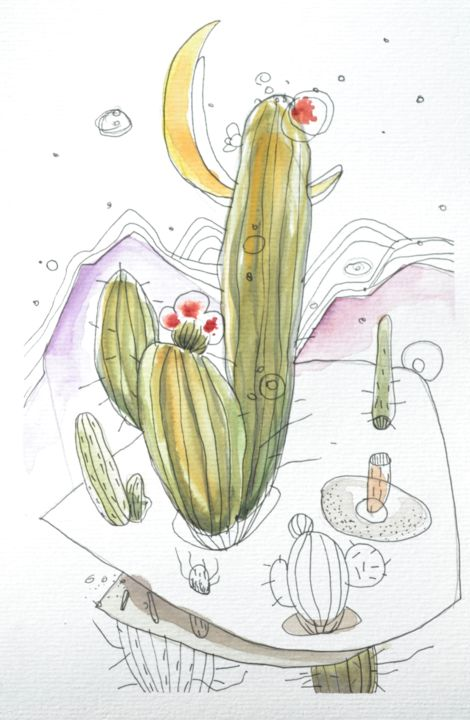 Cactus 6 - Painting,  9.5x6.3 in, ©2019 by Oscar Torres Perez -                                                                                                                                                                                                                                                                                                                                                                                                                                                      Illustration, illustration-600, Tree, Nature, cactus, désert, éclipse, nature, chili
