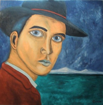 """Painting titled """"Uomo col cappello"""" by Oshiro, Original Art,"""
