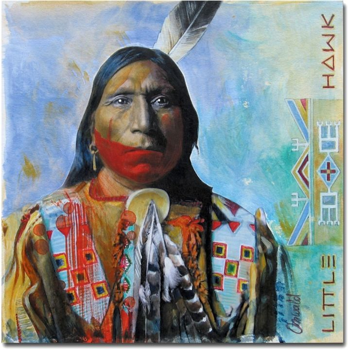 LITTLE HAWK - Brule - Sioux - Painting,  10x10 in, ©2017 by Jean-Luc OSSWALD -                                                                                                                                                                                                                                                                                                                                          World Culture, Osswald Jean-Luc, Amérindien, Native Indian, Légende, Lakota, Brule Sioux