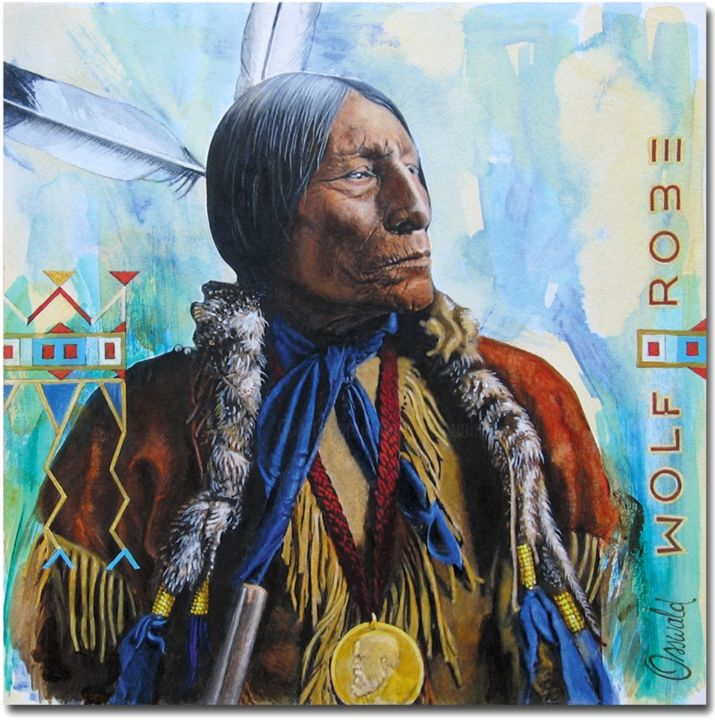 WOLF ROBE - Cheyenne - Painting,  10x10 in, ©2017 by Jean-Luc OSSWALD -                                                                                                                                                                                                                                                                                              World Culture, Amérindien, Native Indian, Légende, Cheyenne, © Osswald Jean-Luc