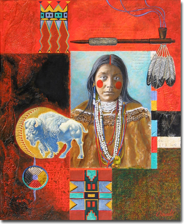 THE NORTH AMERICAN INDIAN - Painting,  21.7x18.1 in, ©2018 by Jean-Luc OSSWALD -                                                                                                                                                                                                                                                                                                                                                                                                                                  World Culture, Osswald Jean-Luc, Hattie Tom, Apache Chiricahua, North American Indian, Amérindien, Native Indian, Cercle d' influence, Femme Bison Blanc