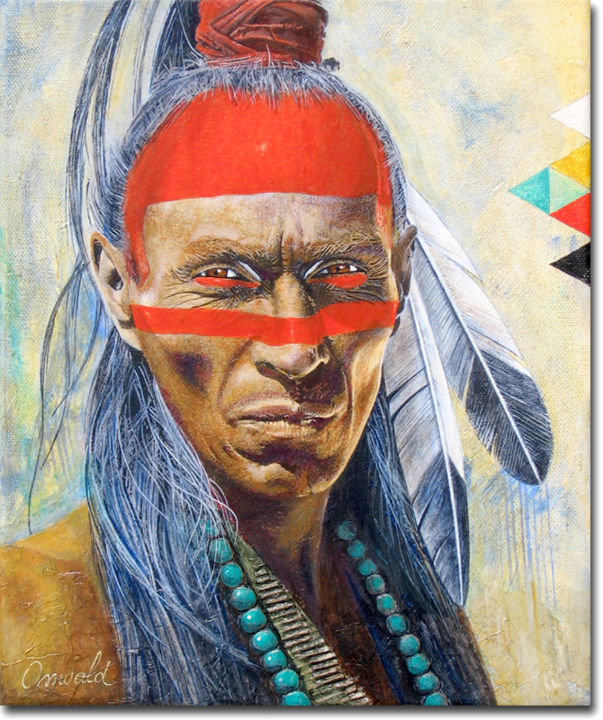 GUERRIER - Painting,  30x25 cm ©2018 by Jean-Luc OSSWALD -                                            Contemporary painting, World Culture, Osswald Jean-Luc, Amérindien, Guerrier indien, Plumes d'Aigle, North American Indian, Native Indian, Indian Warrior