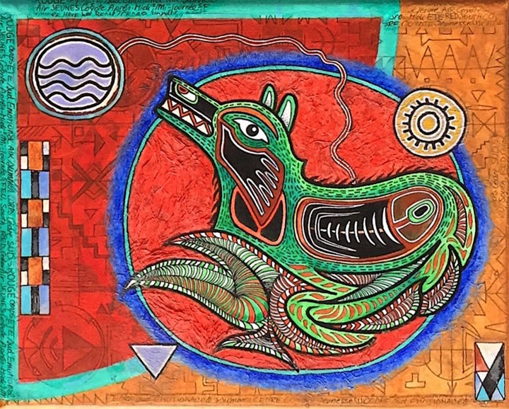 """Painting titled """"COYOTE - Shamanic C…"""" by Jean-Luc Osswald, Original Art, Acrylic"""