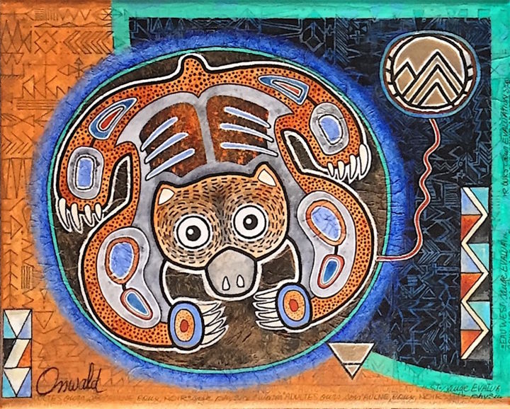 """Painting titled """"OURS - Shamanic Cos…"""" by Jean-Luc Osswald, Original Art, Acrylic"""
