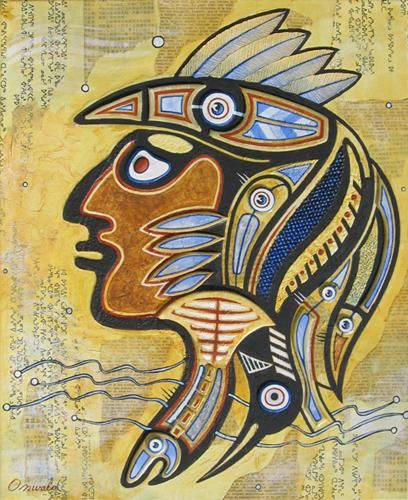 SPIRIT FISHER - Painting,  18.1x15 in, ©2012 by Jean-Luc OSSWALD -                                                                                                                                                                                                                                                                                                                                                                                                                                                                                                                                                                                                                                                                                                      Jean-Luc Osswald, amérindien, indien, native indian, autochtone, Premières Nations, native paintings, amerindian art, native art, totem, rituel, brave, guerrier, pécheur, huard