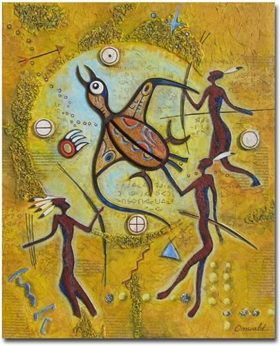 ADIEU TERRE DES HOMMES - Painting,  46x38 cm ©2011 by Jean-Luc OSSWALD -                                            Contemporary painting, World Culture, Jean-Luc Osswald, amérindien, indien, native indian, autochtone, Premières Nations, native paintings, amerindian art, native art, chasseurs, signes, symboles, native indian spirits