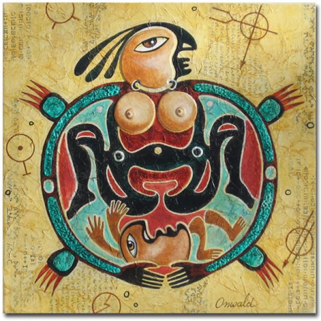 LA TERRE-MÈRE - Painting,  30x30 cm ©2013 by Jean-Luc OSSWALD -                                            Contemporary painting, World Culture, Jean-Luc Osswald, amérindien, indien, native indian, autochtone, Premières Nations, native paintings, amerindian art, native art, native indian spirit, Terre-Mère, tortue, légende, mythe
