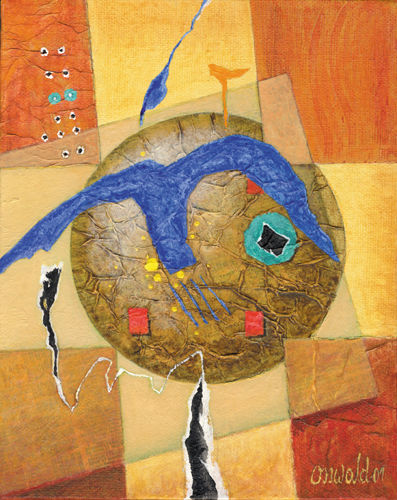 L'OISEAU BLEU - Painting, ©2001 by Jean-Luc OSSWALD -                                                                                                                                                                                                                                                                                                                                                                                                                                                                                                                                                                                                                  World Culture, Jean-Luc Osswald, amérindien, indien, native indian, autochtone, Premières Nations, native paintings, amerindian art, native art, mythe sacré, oiseau tonnerre, native indian spirits