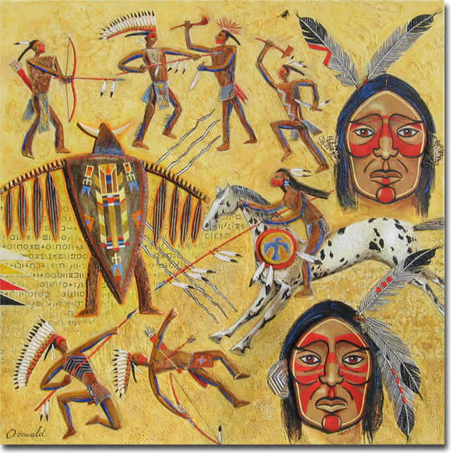 RITUELS GUERRIERS - Painting,  23.6x23.6 in, ©2014 by Jean-Luc OSSWALD -                                                                                                                                                                                                                                                                                                                                                                                                                                                                                                                                                                                                                                                                                                          World Culture, Jean-Luc Osswald, indien, amérindien, autochtone, native indian, Premières Nations, native paintings, amerindian art, native art, chaman, cheval appaloosa, plume, peinture, native indian spirits